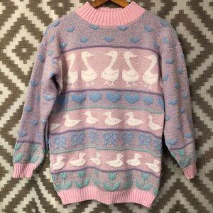 Vintage Fairy Kei Pastel Sparkle Swan Sweater